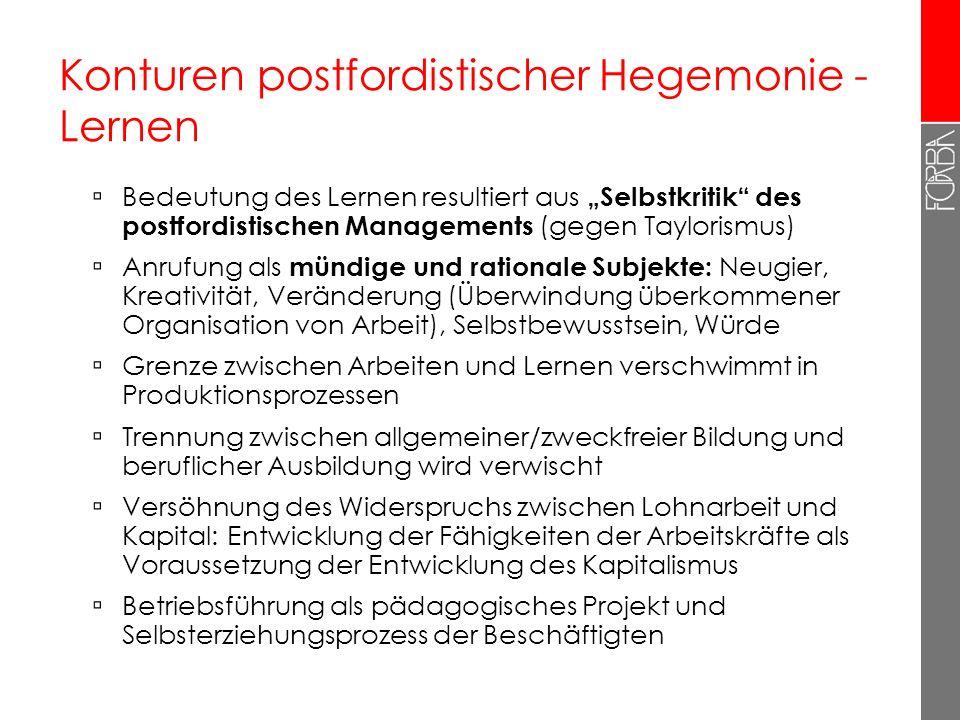 Konturen postfordistischer Hegemonie - Lernen Bedeutung des Lernen resultiert aus Selbstkritik des postfordistischen Managements (gegen Taylorismus) A