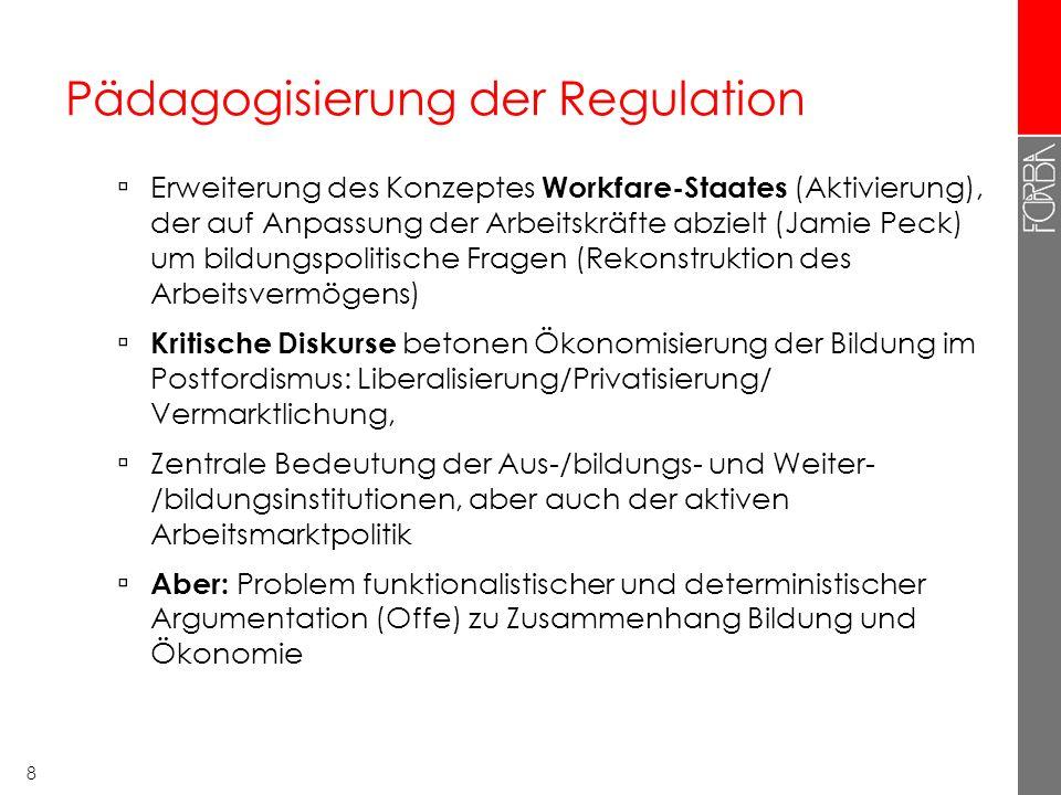 8 Pädagogisierung der Regulation Erweiterung des Konzeptes Workfare-Staates (Aktivierung), der auf Anpassung der Arbeitskräfte abzielt (Jamie Peck) um