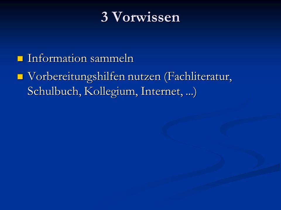 3 Vorwissen Information sammeln Information sammeln Vorbereitungshilfen nutzen (Fachliteratur, Schulbuch, Kollegium, Internet,...) Vorbereitungshilfen nutzen (Fachliteratur, Schulbuch, Kollegium, Internet,...)
