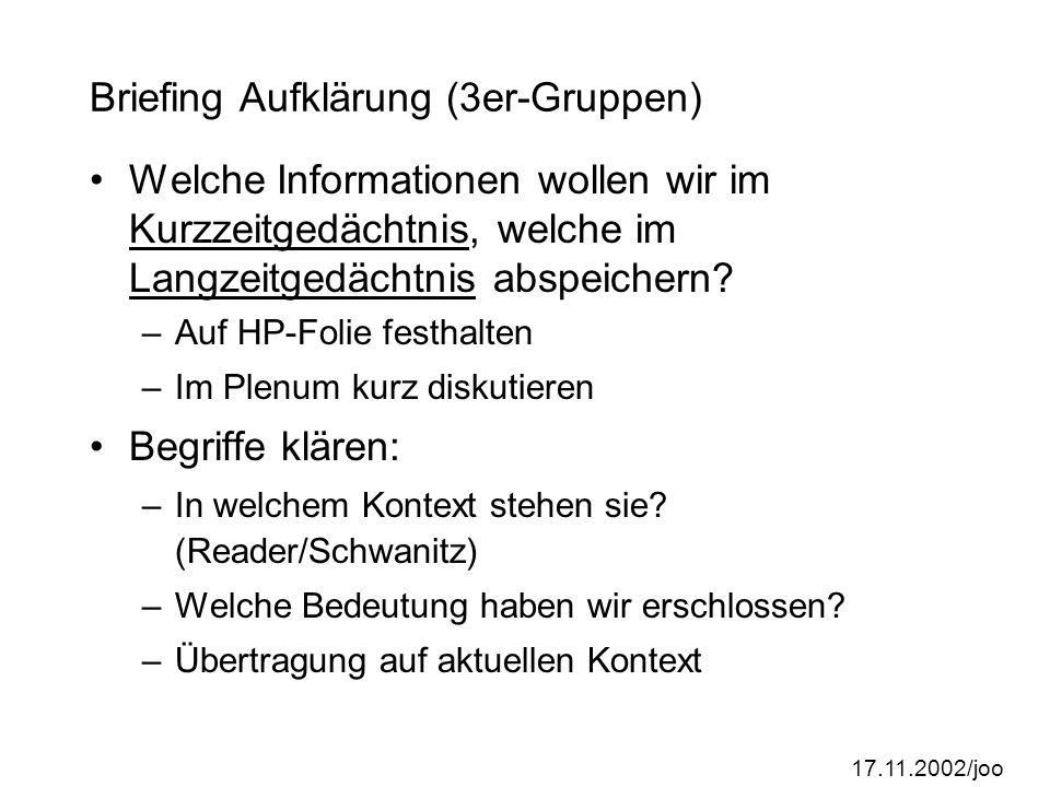 17.11.2002/joo Briefing Aufklärung (3er-Gruppen) Welche Informationen wollen wir im Kurzzeitgedächtnis, welche im Langzeitgedächtnis abspeichern.