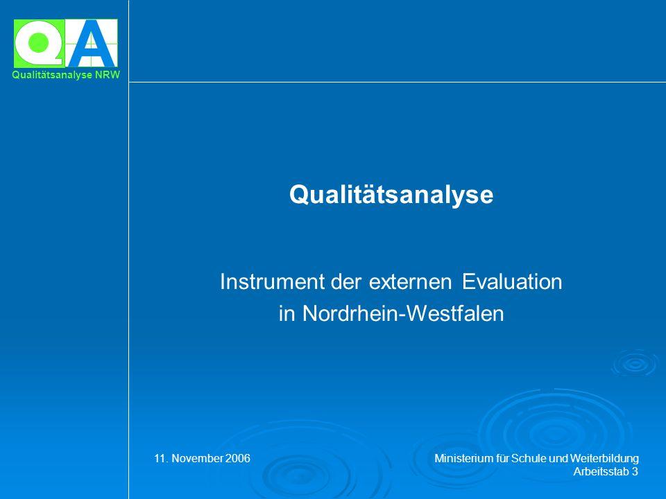 A Qualitätsanalyse NRW Qualitätsanalyse Instrument der externen Evaluation in Nordrhein-Westfalen 11. November 2006 Ministerium für Schule und Weiterb