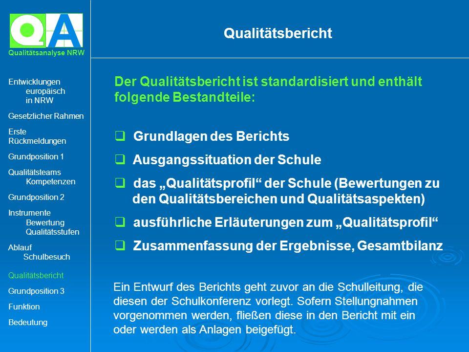 A Qualitätsanalyse NRW Der Qualitätsbericht ist standardisiert und enthält folgende Bestandteile: Grundlagen des Berichts Ausgangssituation der Schule