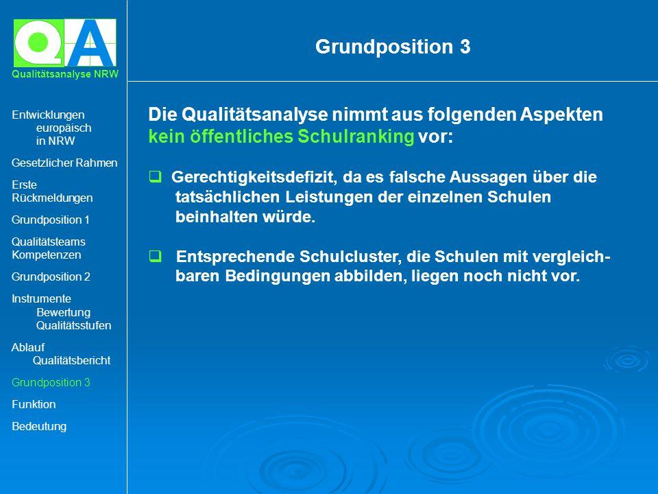 A Qualitätsanalyse NRW Die Qualitätsanalyse nimmt aus folgenden Aspekten kein öffentliches Schulranking vor: Gerechtigkeitsdefizit, da es falsche Auss