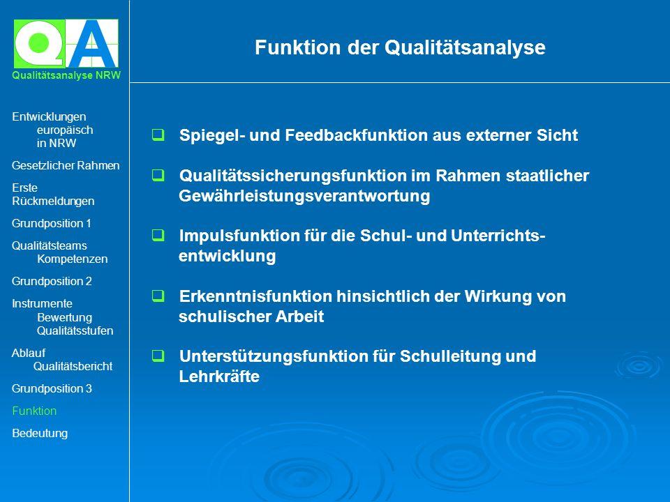 A Qualitätsanalyse NRW Spiegel- und Feedbackfunktion aus externer Sicht Qualitätssicherungsfunktion im Rahmen staatlicher Gewährleistungsverantwortung