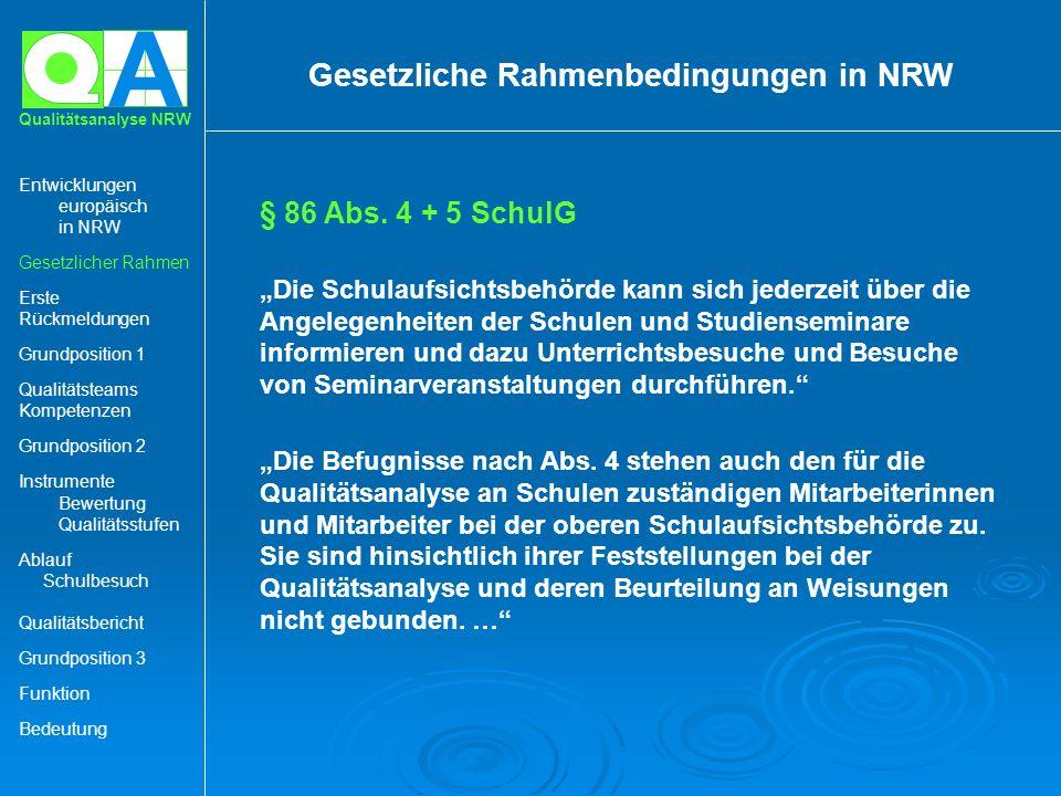 A Qualitätsanalyse NRW § 86 Abs. 4 + 5 SchulG Die Schulaufsichtsbehörde kann sich jederzeit über die Angelegenheiten der Schulen und Studienseminare i