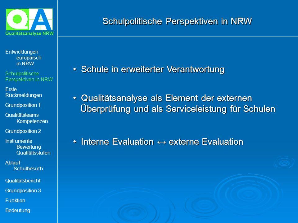 A Qualitätsanalyse NRW Schule in erweiterter Verantwortung Schule in erweiterter Verantwortung Qualitätsanalyse als Element der externen Überprüfung u