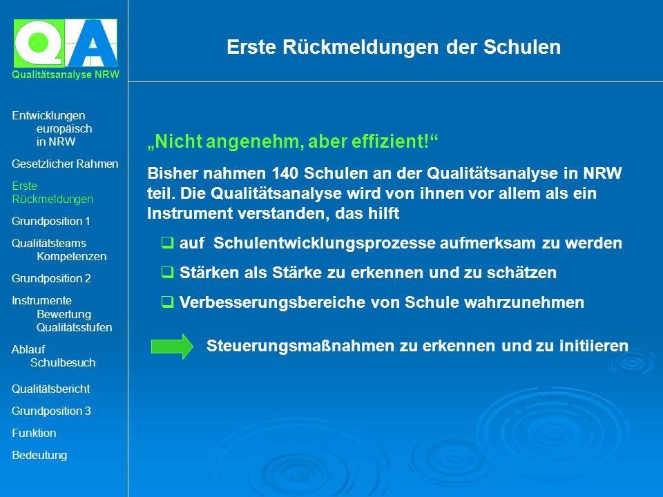 A Qualitätsanalyse NRW Nicht angenehm, aber effizient! Bisher nahmen 140 Schulen an der Qualitätsanalyse in NRW teil. Die Qualitätsanalyse wird von ih