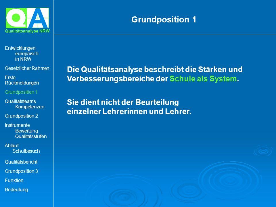 A Qualitätsanalyse NRW Die Qualitätsanalyse beschreibt die Stärken und Verbesserungsbereiche der Schule als System. Sie dient nicht der Beurteilung ei