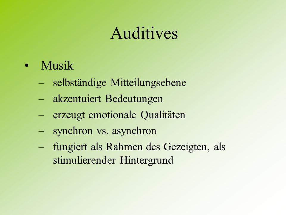 Auditives Geräusche unterstützende vs. widersprechende Funktion dienen wegen ihres kontinuitätsstifenden Charakters als verbindende Klammern oder Über