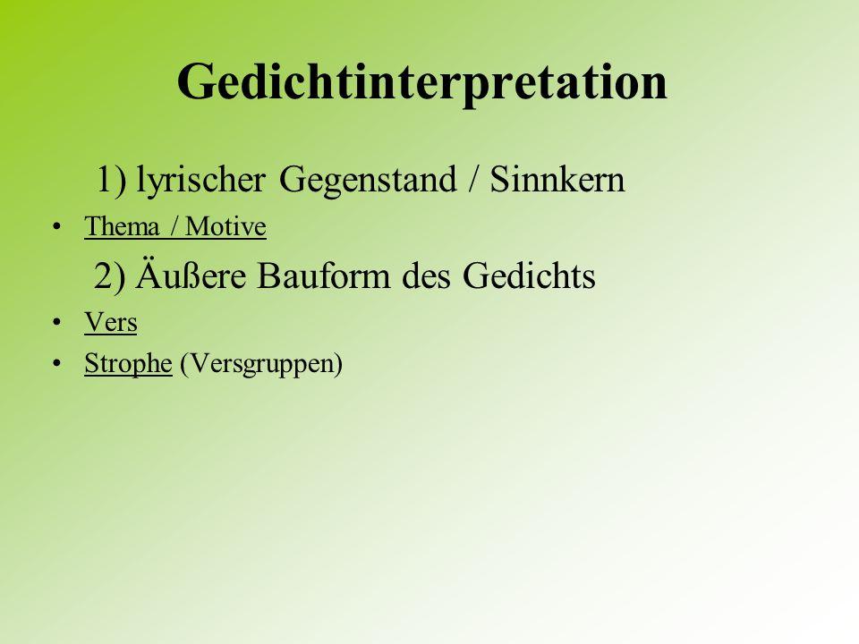 1) Aspekte der Lyrikanalyse an die Stelle der zeitlichen Ordnung treten sprachliche Ordnungskriterien Lyrische Texte sind an der gesprochenen Realisie