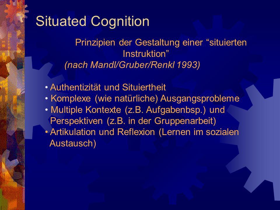Situated Cognition Prinzipien der Gestaltung einer situierten Instruktion (nach Mandl/Gruber/Renkl 1993) Authentizität und Situiertheit Komplexe (wie natürliche) Ausgangsprobleme Multiple Kontexte (z.B.
