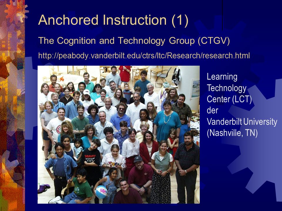 Anchored Instruction (1) The Cognition and Technology Group (CTGV) http://peabody.vanderbilt.edu/ctrs/ltc/Research/research.html Reunion 99 Recap Reun