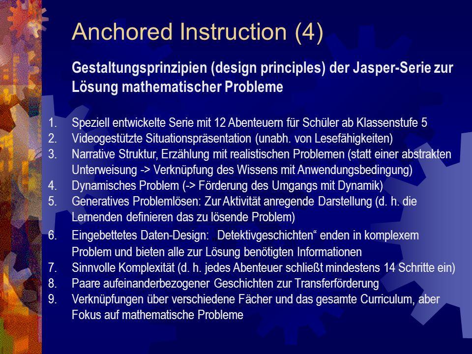 Anchored Instruction (4) Gestaltungsprinzipien (design principles) der Jasper-Serie zur Lösung mathematischer Probleme 1.Speziell entwickelte Serie mit 12 Abenteuern für Schüler ab Klassenstufe 5 2.Videogestützte Situationspräsentation (unabh.