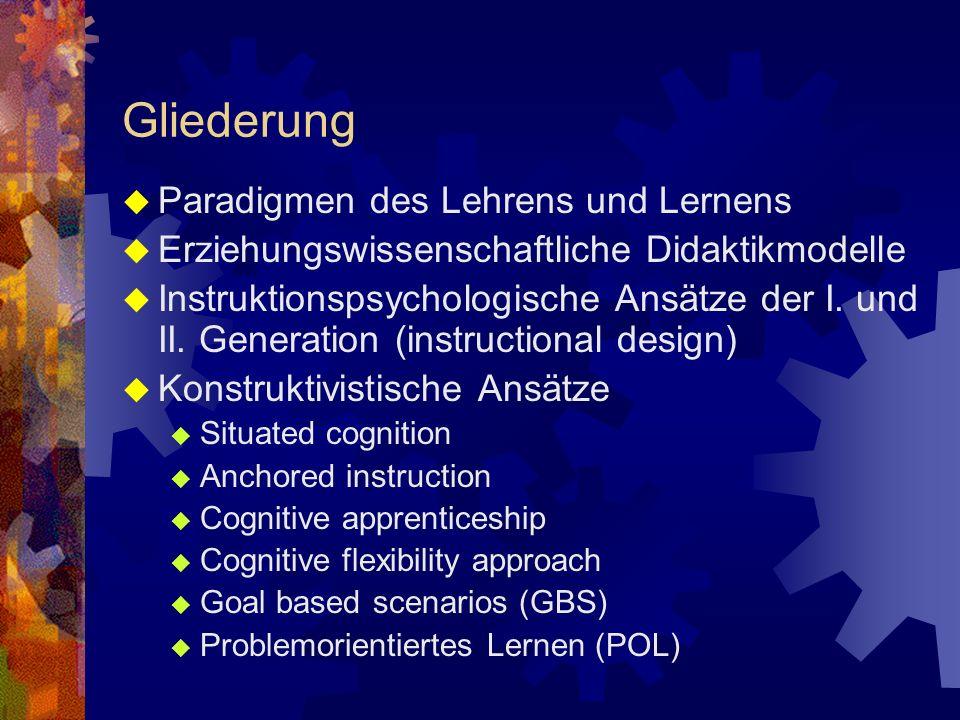 Gliederung Paradigmen des Lehrens und Lernens Erziehungswissenschaftliche Didaktikmodelle Instruktionspsychologische Ansätze der I.
