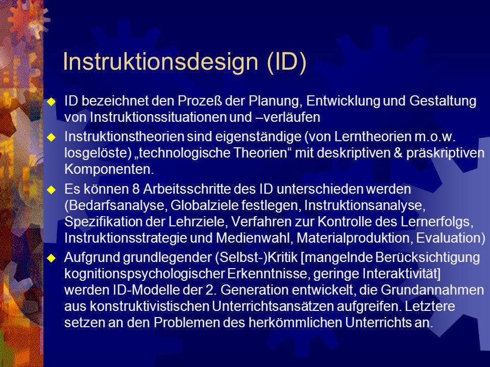 Instruktionsdesign (ID) ID bezeichnet den Prozeß der Planung, Entwicklung und Gestaltung von Instruktionssituationen und –verläufen Instruktionstheorien sind eigenständige (von Lerntheorien m.o.w.