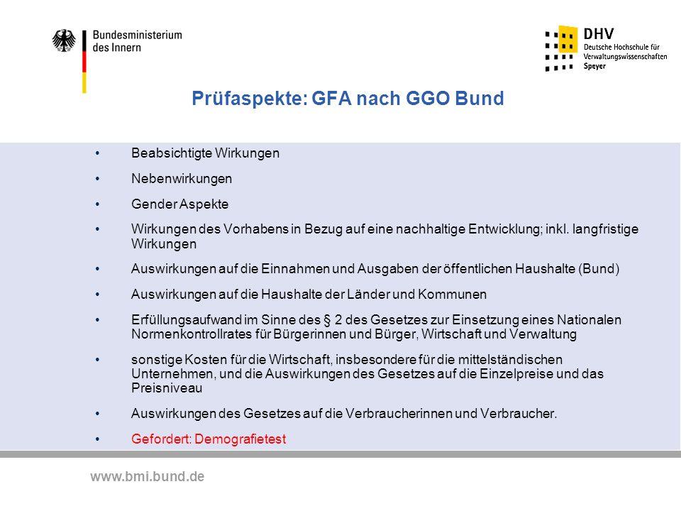 www.bmi.bund.de Prüfaspekte: GFA nach GGO Bund Beabsichtigte Wirkungen Nebenwirkungen Gender Aspekte Wirkungen des Vorhabens in Bezug auf eine nachhal