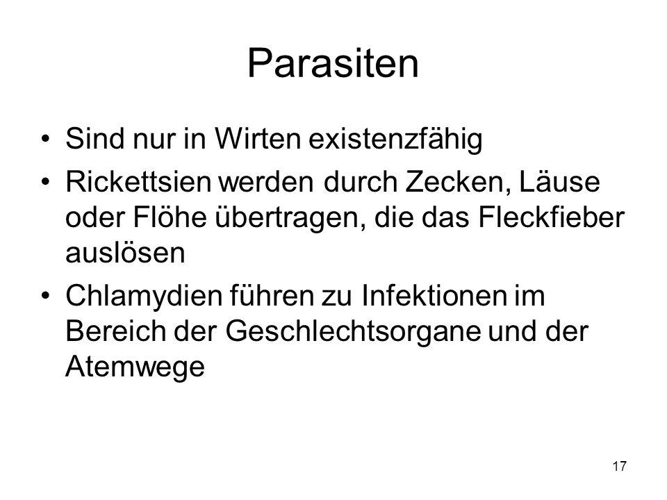 17 Parasiten Sind nur in Wirten existenzfähig Rickettsien werden durch Zecken, Läuse oder Flöhe übertragen, die das Fleckfieber auslösen Chlamydien fü