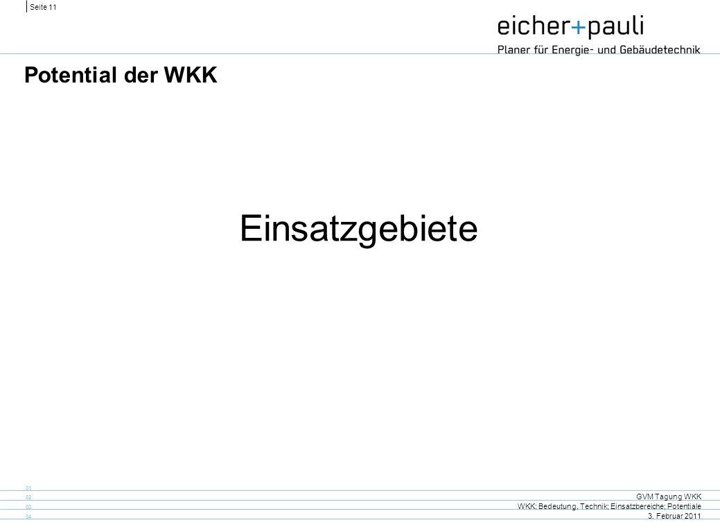 Seite 11 GVM Tagung WKK WKK: Bedeutung, Technik; Einsatzbereiche; Potentiale 3. Februar 2011 01 02 03 04 Potential der WKK Einsatzgebiete