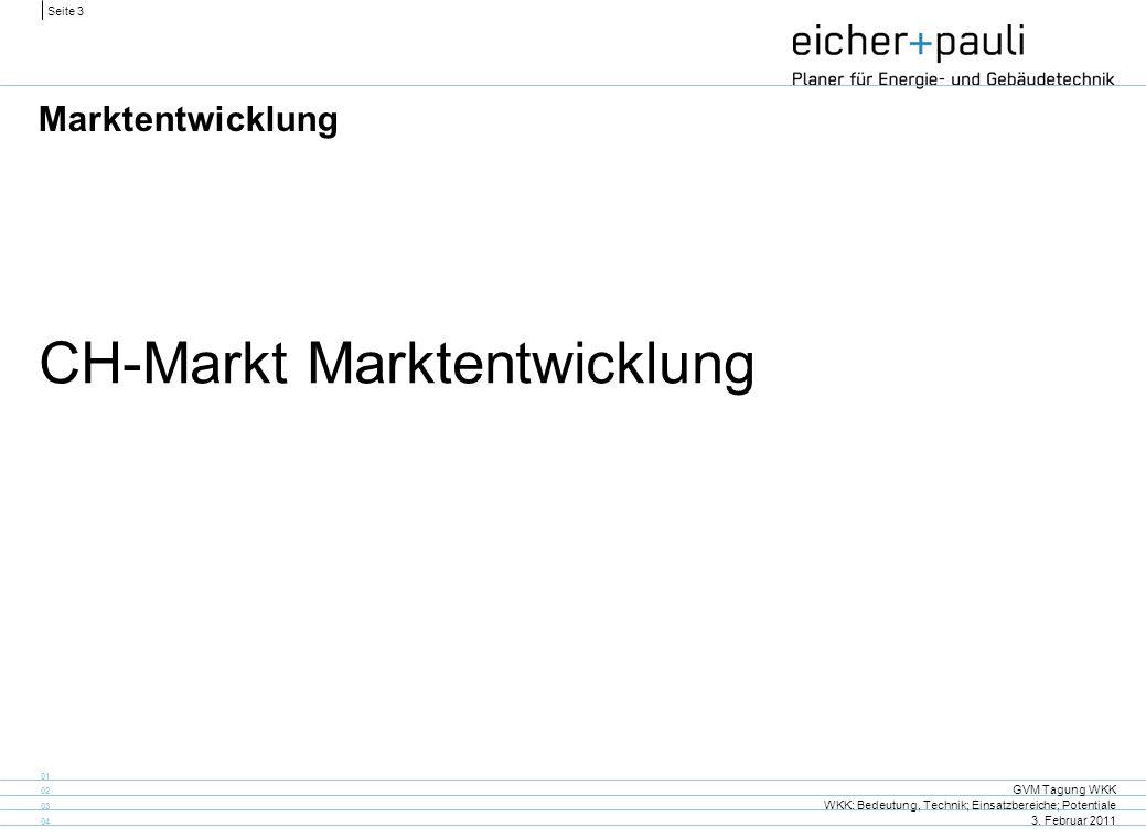 Seite 3 GVM Tagung WKK WKK: Bedeutung, Technik; Einsatzbereiche; Potentiale 3. Februar 2011 01 02 03 04 Marktentwicklung CH-Markt Marktentwicklung