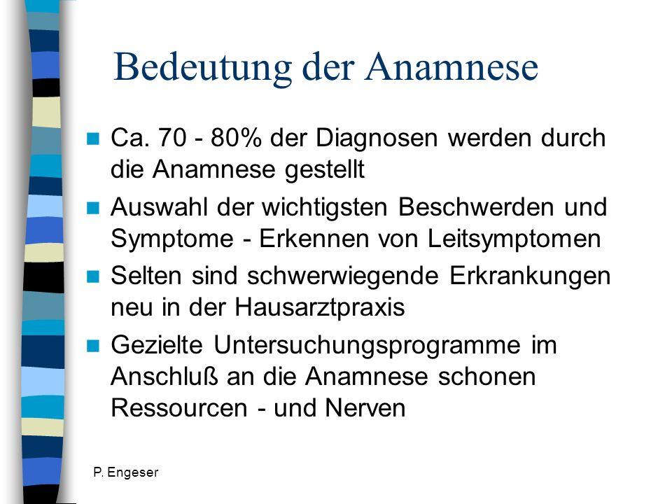 P. Engeser Bedeutung der Anamnese Ca. 70 - 80% der Diagnosen werden durch die Anamnese gestellt Auswahl der wichtigsten Beschwerden und Symptome - Erk