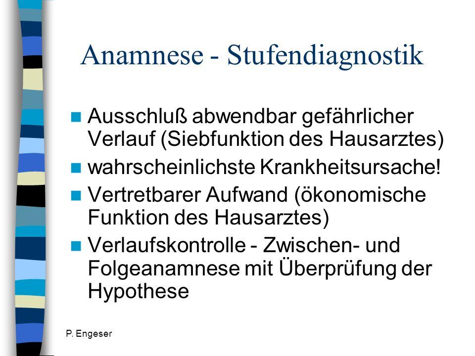 P. Engeser Anamnese - Stufendiagnostik Ausschluß abwendbar gefährlicher Verlauf (Siebfunktion des Hausarztes) wahrscheinlichste Krankheitsursache! Ver