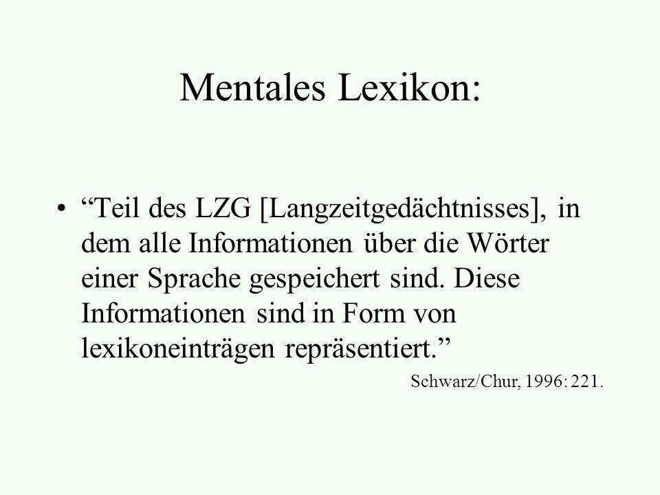 Mentales Lexikon: Teil des LZG [Langzeitgedächtnisses], in dem alle Informationen über die Wörter einer Sprache gespeichert sind.