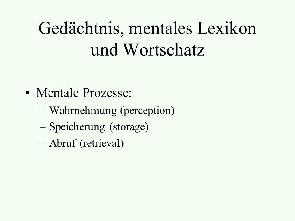 Gedächtnis, mentales Lexikon und Wortschatz Mentale Prozesse: –Wahrnehmung (perception) –Speicherung (storage) –Abruf (retrieval)