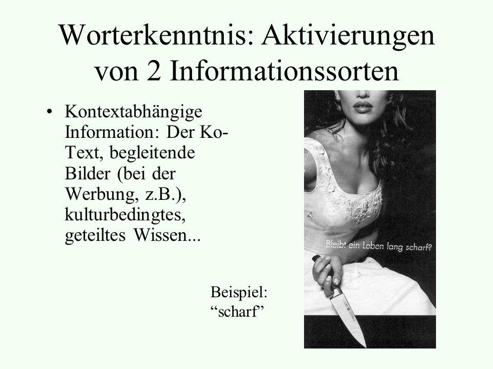 Worterkenntnis: Aktivierungen von 2 Informationssorten Kontextabhängige Information: Der Ko- Text, begleitende Bilder (bei der Werbung, z.B.), kulturbedingtes, geteiltes Wissen...