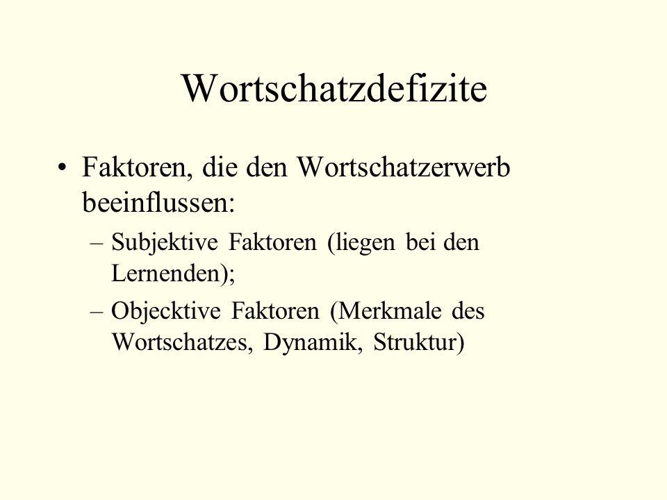 Wortschatzdefizite Faktoren, die den Wortschatzerwerb beeinflussen: –Subjektive Faktoren (liegen bei den Lernenden); –Objecktive Faktoren (Merkmale des Wortschatzes, Dynamik, Struktur)