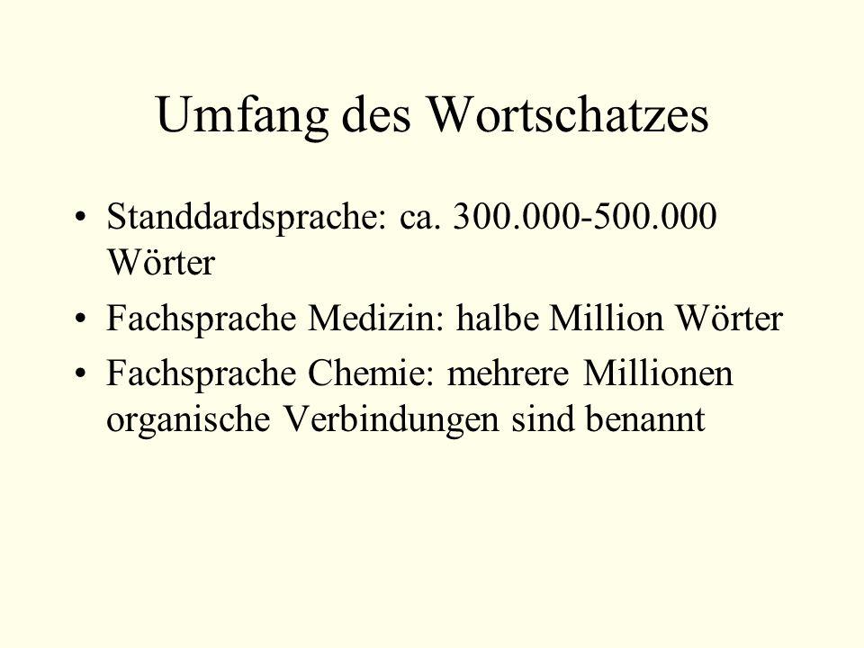 Umfang des Wortschatzes Standdardsprache: ca.
