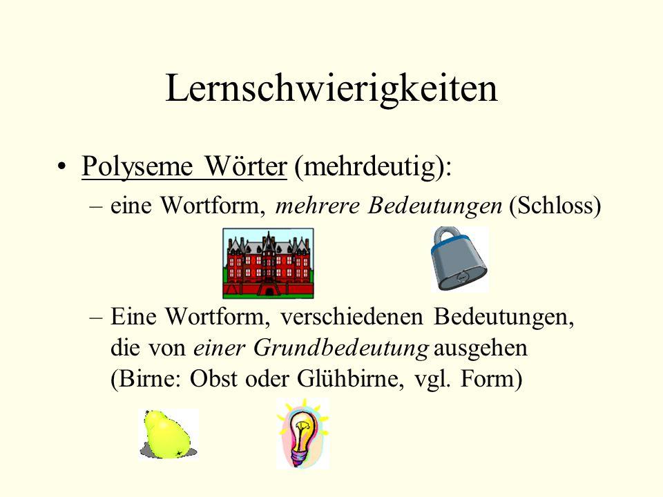 Lernschwierigkeiten Polyseme Wörter (mehrdeutig): –eine Wortform, mehrere Bedeutungen (Schloss) –Eine Wortform, verschiedenen Bedeutungen, die von einer Grundbedeutung ausgehen (Birne: Obst oder Glühbirne, vgl.