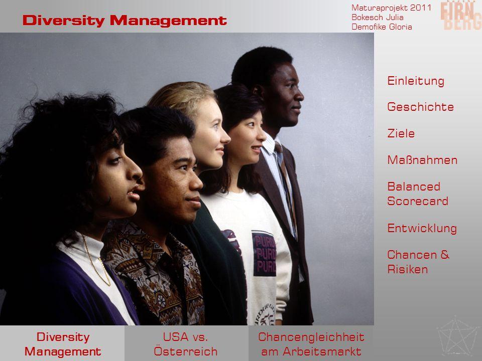 Maturaprojekt 2011 Bokesch Julia Demofike Gloria Diversity Management Einleitung Geschichte Ziele Entwicklung Maßnahmen Chancengleichheit am Arbeitsma