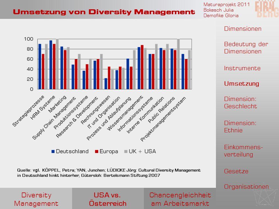 Maturaprojekt 2011 Bokesch Julia Demofike Gloria Umsetzung von Diversity Management Quelle: vgl. KÖPPEL, Petra; YAN, Junchen; LÜDICKE Jörg: Cultural D
