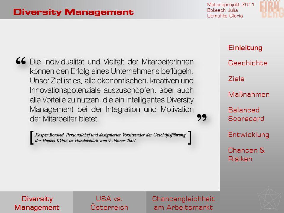 Maturaprojekt 2011 Bokesch Julia Demofike Gloria Diversity Management Chancengleichheit am Arbeitsmarkt USA vs. Österreich Diversity Management Einlei