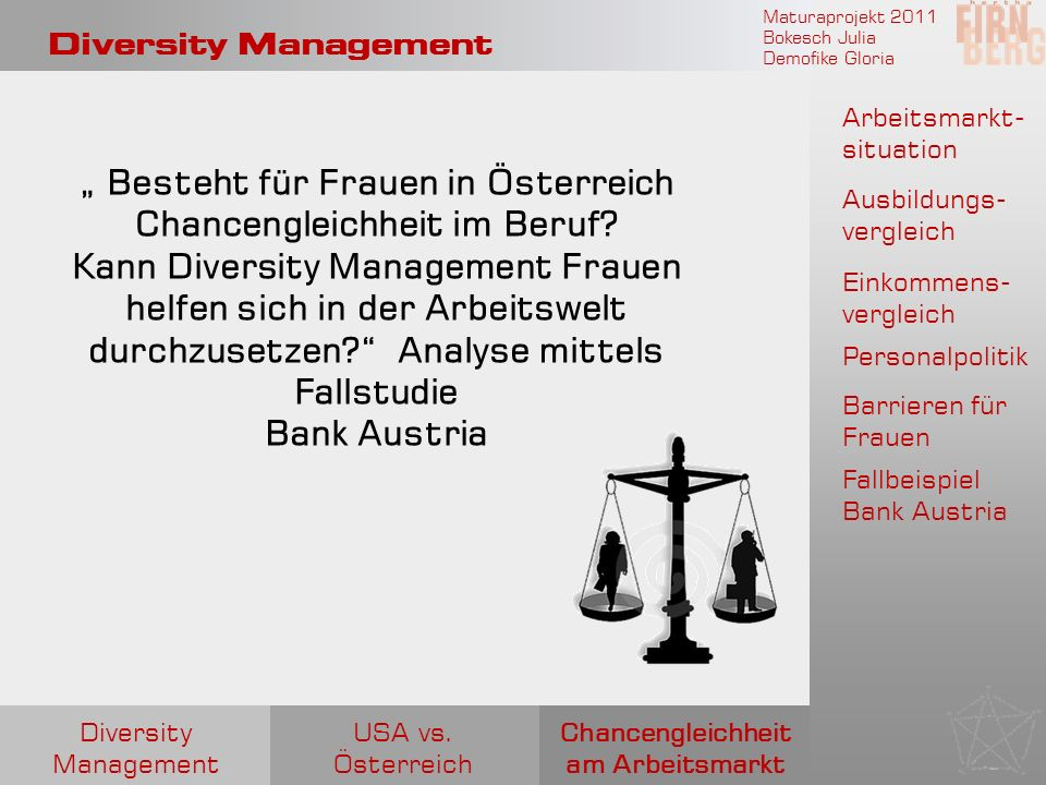 Maturaprojekt 2011 Bokesch Julia Demofike Gloria Diversity Management Arbeitsmarkt- situation Ausbildungs- vergleich Einkommens- vergleich Personalpol