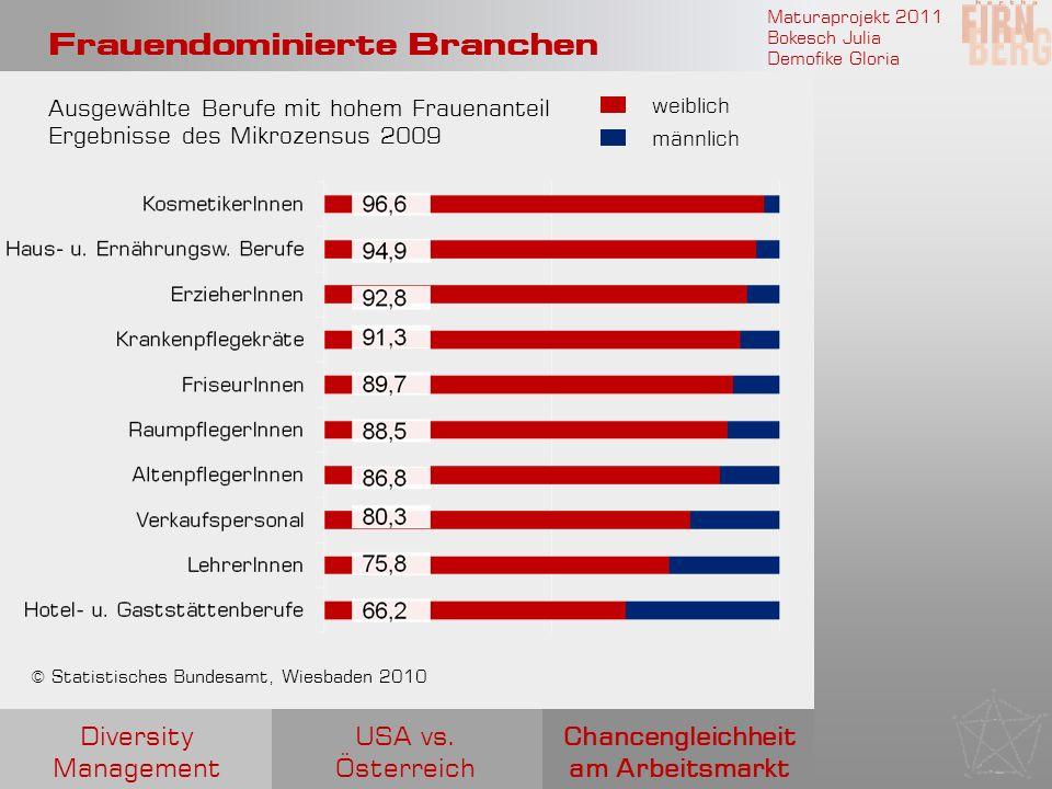 Maturaprojekt 2011 Bokesch Julia Demofike Gloria Frauendominierte Branchen Chancengleichheit am Arbeitsmarkt USA vs. Österreich Diversity Management A