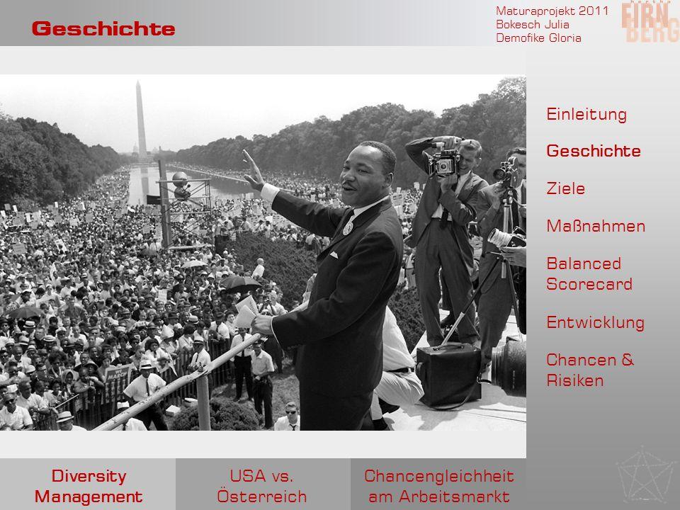 Maturaprojekt 2011 Bokesch Julia Demofike Gloria Geschichte Chancengleichheit am Arbeitsmarkt USA vs. Österreich Diversity Management Einleitung Gesch