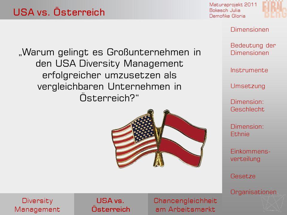 Maturaprojekt 2011 Bokesch Julia Demofike Gloria USA vs. Österreich Warum gelingt es Großunternehmen in den USA Diversity Management erfolgreicher umz
