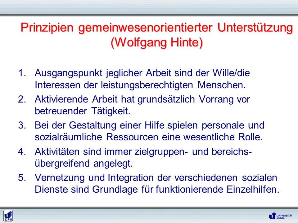 Prinzipien gemeinwesenorientierter Unterstützung (Wolfgang Hinte) 1.Ausgangspunkt jeglicher Arbeit sind der Wille/die Interessen der leistungsberechti