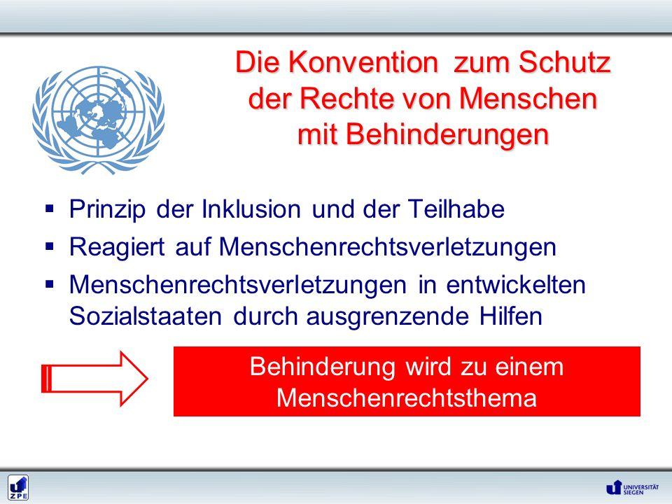 Die Konvention zum Schutz der Rechte von Menschen mit Behinderungen Prinzip der Inklusion und der Teilhabe Reagiert auf Menschenrechtsverletzungen Men