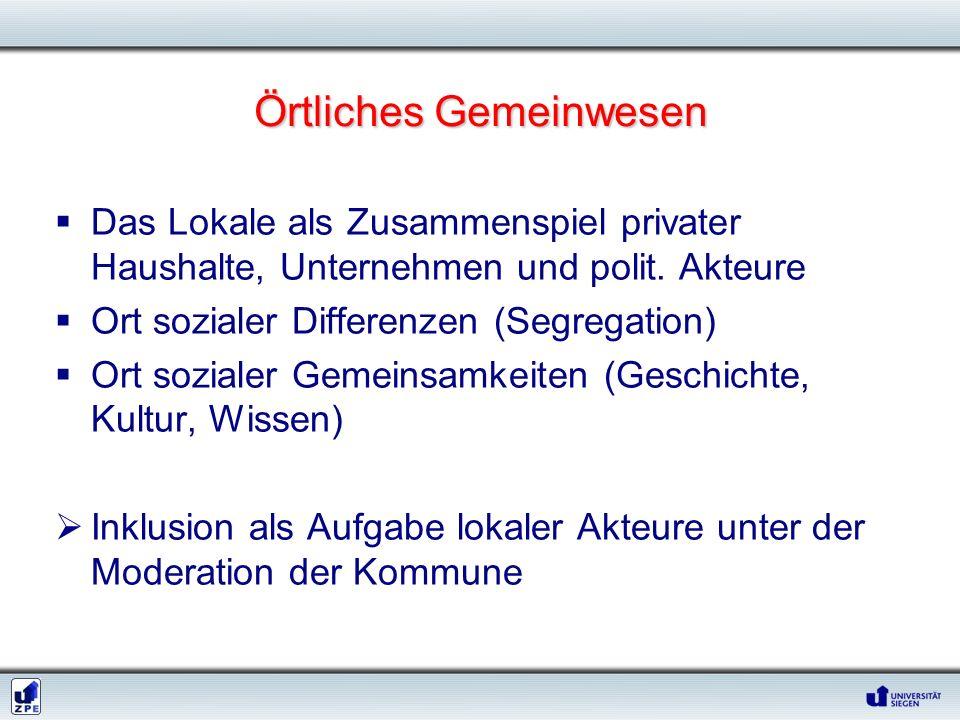 Örtliches Gemeinwesen Das Lokale als Zusammenspiel privater Haushalte, Unternehmen und polit. Akteure Ort sozialer Differenzen (Segregation) Ort sozia
