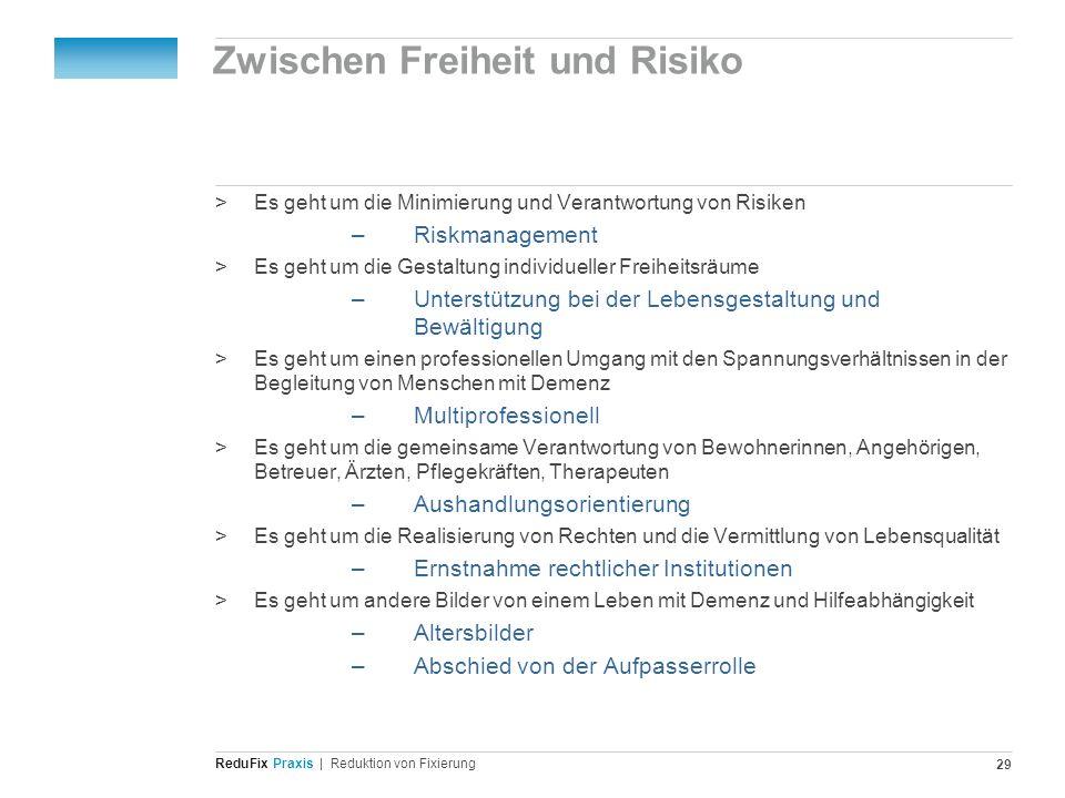 Redu Fix Praxis| Reduktion von Fixierung 29 Zwischen Freiheit und Risiko >Es geht um die Minimierung und Verantwortung von Risiken –Riskmanagement >Es