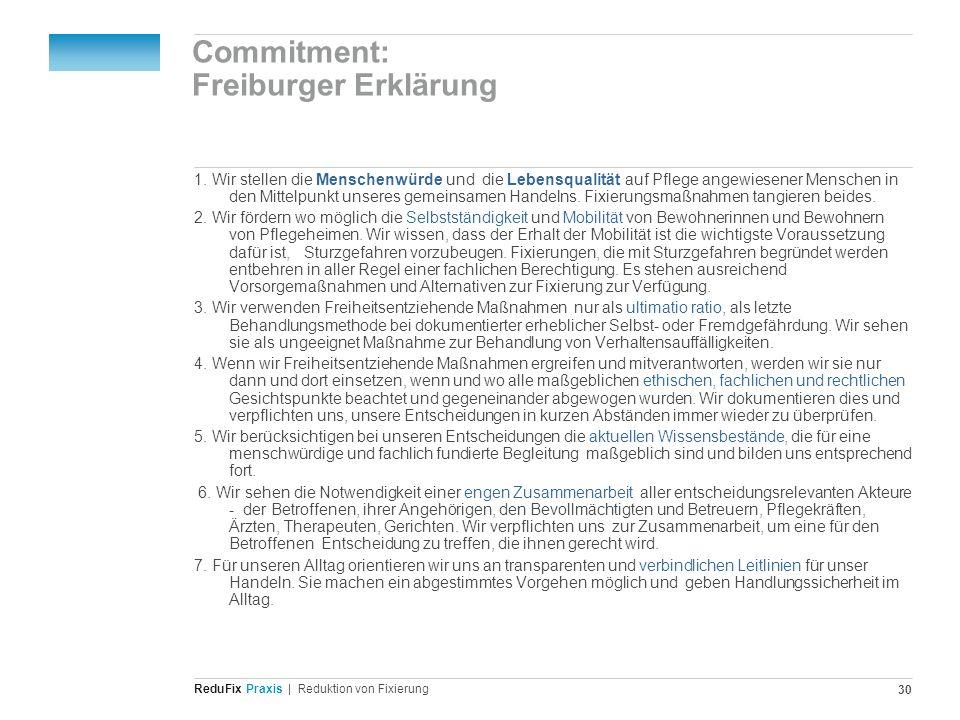 Redu Fix Praxis| Reduktion von Fixierung 30 Commitment: Freiburger Erklärung 1. Wir stellen die Menschenwürde und die Lebensqualität auf Pflege angewi