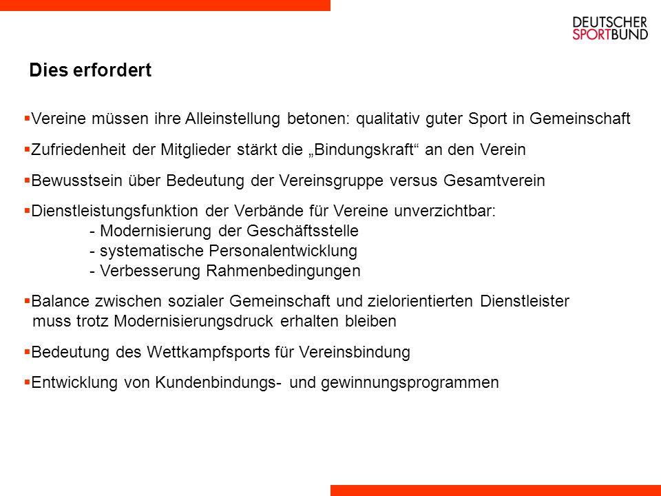 4. These: Veränderungen der Rahmenbedingungen im Umfeld des Sports sowie Erwartungen der Kunden sind als Herausforderung zu verstehen, die Bindungskrä