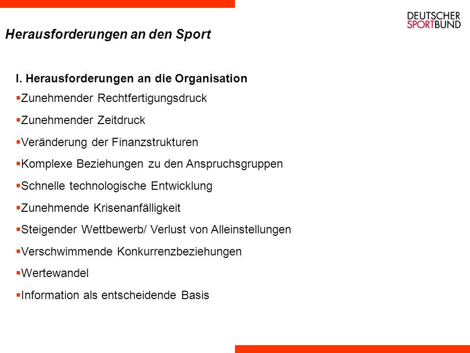 Ebenen der Herausforderungen an das System organisationspolitische Herausforderungen demographische Herausforderungen gesellschaftspolitische Herausforderungen breitensportpolitische Herausforderungen