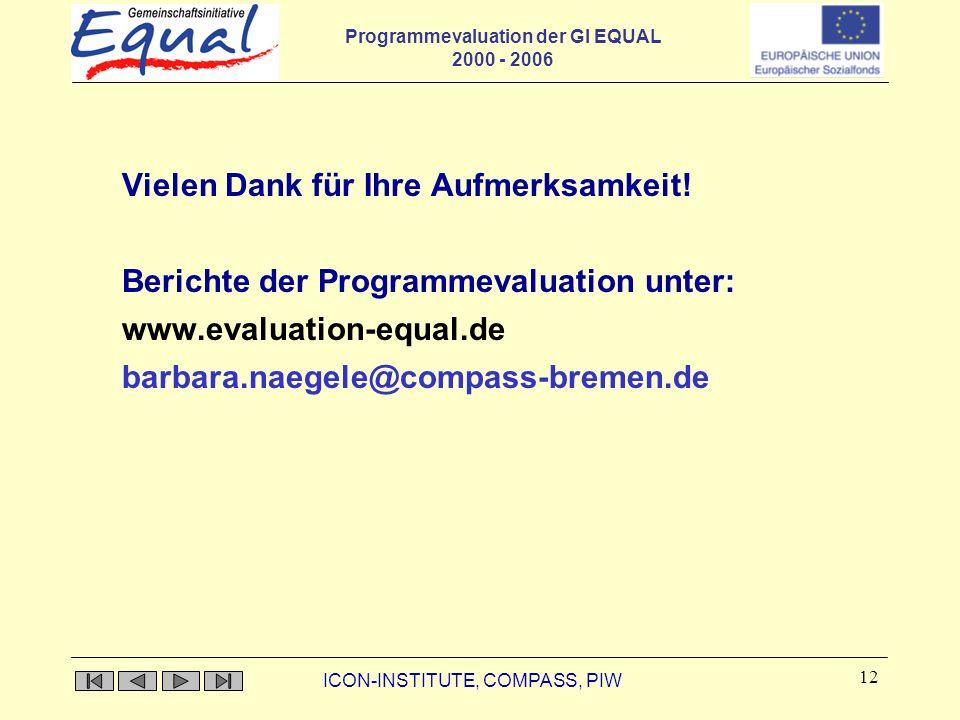 Programmevaluation der GI EQUAL 2000 - 2006 ICON-INSTITUTE, COMPASS, PIW 12 Vielen Dank für Ihre Aufmerksamkeit! Berichte der Programmevaluation unter