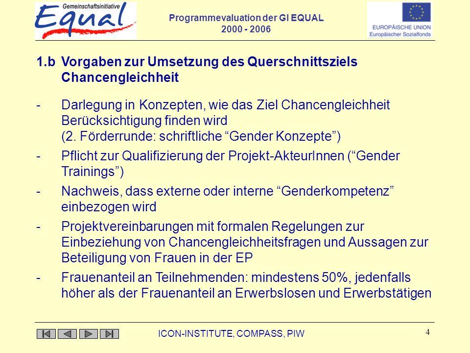 Programmevaluation der GI EQUAL 2000 - 2006 ICON-INSTITUTE, COMPASS, PIW 4 1.b Vorgaben zur Umsetzung des Querschnittsziels Chancengleichheit -Darlegung in Konzepten, wie das Ziel Chancengleichheit Berücksichtigung finden wird (2.