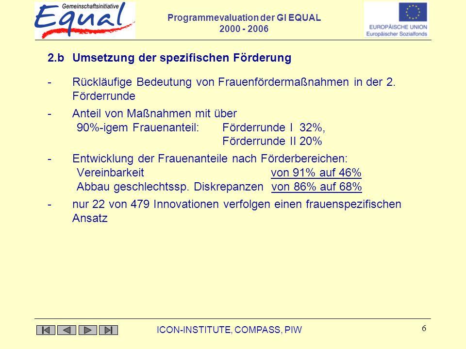 Programmevaluation der GI EQUAL 2000 - 2006 ICON-INSTITUTE, COMPASS, PIW 6 2.b Umsetzung der spezifischen Förderung -Rückläufige Bedeutung von Frauenf
