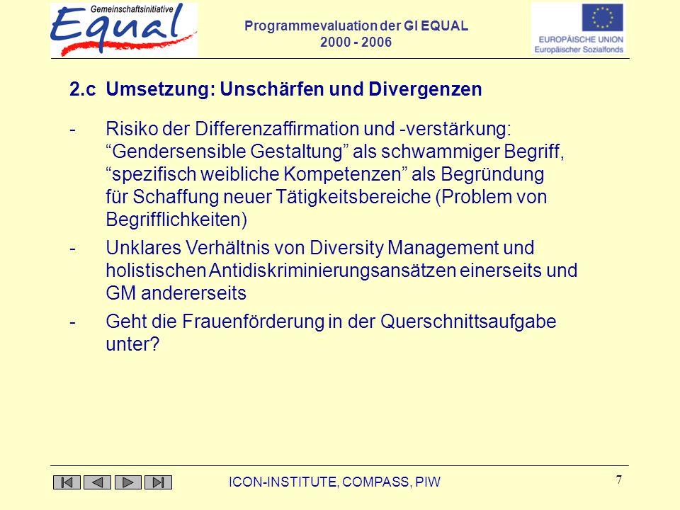 Programmevaluation der GI EQUAL 2000 - 2006 ICON-INSTITUTE, COMPASS, PIW 7 2.c Umsetzung: Unschärfen und Divergenzen -Risiko der Differenzaffirmation