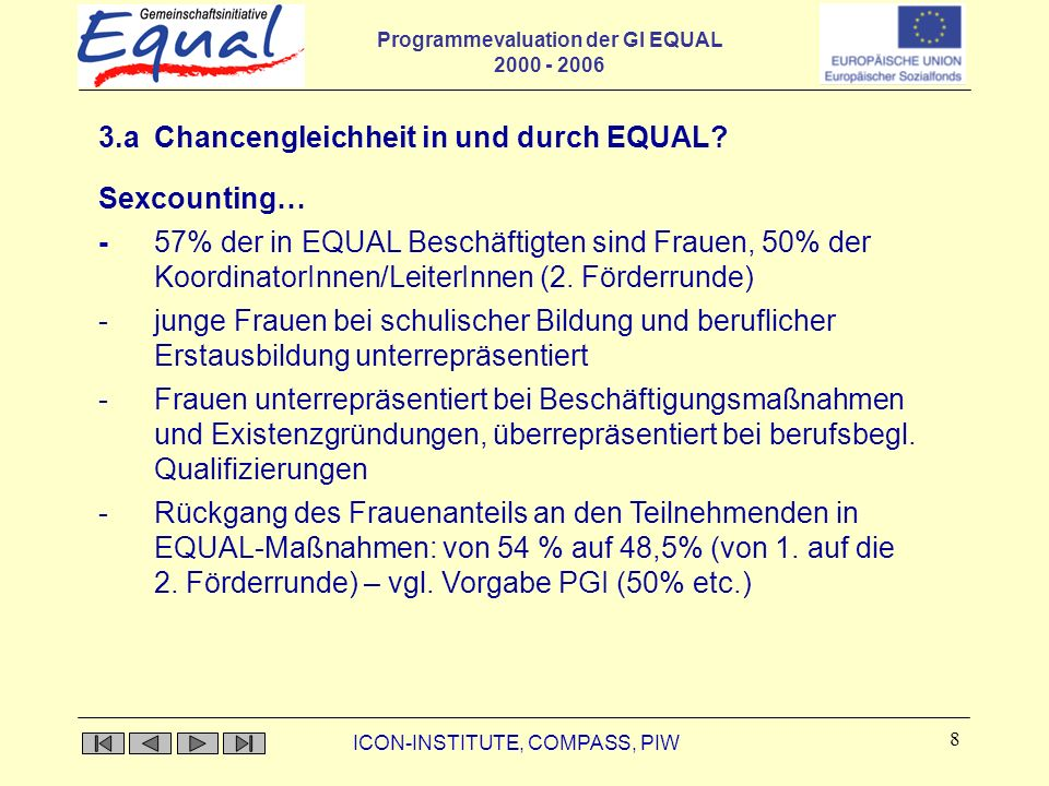 Programmevaluation der GI EQUAL 2000 - 2006 ICON-INSTITUTE, COMPASS, PIW 8 3.a Chancengleichheit in und durch EQUAL.